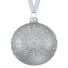Buy John Lewis Snowdrift Glass Pearl Snowflake Bauble, Silver Online at johnlewis.com