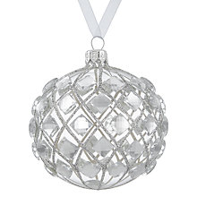 Buy John Lewis Boutique Glass Diamond Gem Bauble, Silver Online at johnlewis.com
