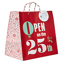 Buy John Lewis 'Open On The 25th' Shopper Bag, Red Online at johnlewis.com