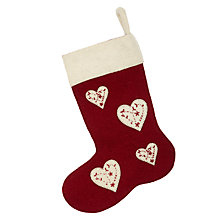 Buy Fiona Walker Christmas Heart Stocking, Red Online at johnlewis.com