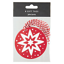 Buy John Lewis Star Gift Tags, Pack of 8, Red and White Online at johnlewis.com