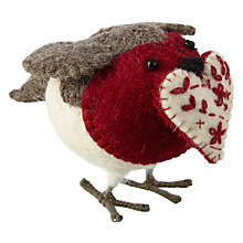 Buy Fiona Walker Felt Robin with Heart, Mini Online at johnlewis.com