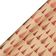 Buy John Lewis Different Perspective Tree Gift Wrap, 3m, Red and Kraft Online at johnlewis.com