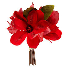 Buy John Lewis Midwinter Assorted Red Flittered Magnolia Flowers, Set of 2 Online at johnlewis.com