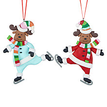 Buy John Lewis Claydough Skating Dogs Tree Decoration, Assorted Online at johnlewis.com