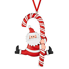 Buy John Lewis Claydough Santa and Cane Tree Decoration, Multi Online at johnlewis.com