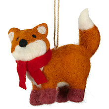 Buy John Lewis Felt Fox with Scarf Tree Decoration, Multi Online at johnlewis.com