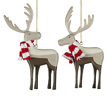 Buy John Lewis Wooden Reindeer Tree Decoration, Assorted Online at johnlewis.com