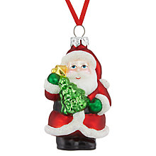 Buy John Lewis Glass Mini Santa and Tree Bauble, Red/Multi Online at johnlewis.com