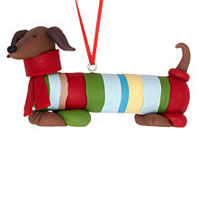 Buy John Lewis Claydough Sausage Dog with Scarf Tree Decoration, Multi Online at johnlewis.com