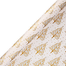 Buy John Lewis FSC Enchantment Trees Gift Wrap, 3m, Gold and Cream Online at johnlewis.com