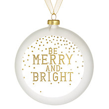 Buy Raeder Be Merry and Bright Bauble, White Online at johnlewis.com