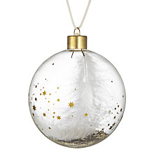 Buy Raeder Feather and Gold Star Glass Bauble Online at johnlewis.com