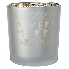 Buy Raeder Merry Christmas Tealight Holder, Gold Online at johnlewis.com