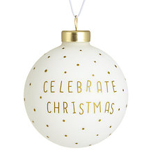 Buy Raeder Celebrate Christmas Bauble, White Online at johnlewis.com