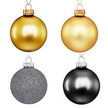 Buy John Lewis Boutique Glass Baubles, Tub of 20, Gold and Silver Online at johnlewis.com