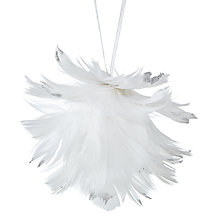 Buy John Lewis Snowdrift Glittered Feathered Tree Decoration, White Online at johnlewis.com