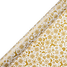 Buy John Lewis FSC Enchantment Snowflake Gift Wrap, 3m, Gold and Cream Online at johnlewis.com
