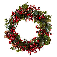 Buy John Lewis Midwinter Red Berry, Cone and Rosehip Wreath Online at johnlewis.com