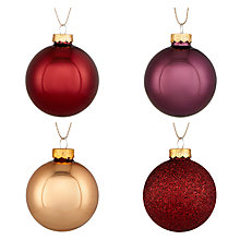 Buy John Lewis Midwinter Glass Baubles, Tub of 20, Multi Online at johnlewis.com