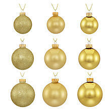 Buy John Lewis Midwinter Glass Baubles, Pack of 42, Gold Online at johnlewis.com