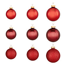 Buy John Lewis Midwinter Glass Baubles, Pack of 42, Red Online at johnlewis.com