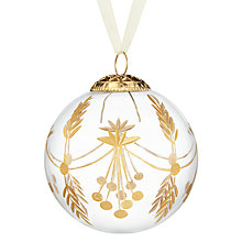 Buy John Lewis Enchantment Glass Gold Etched Bauble, Clear Online at johnlewis.com