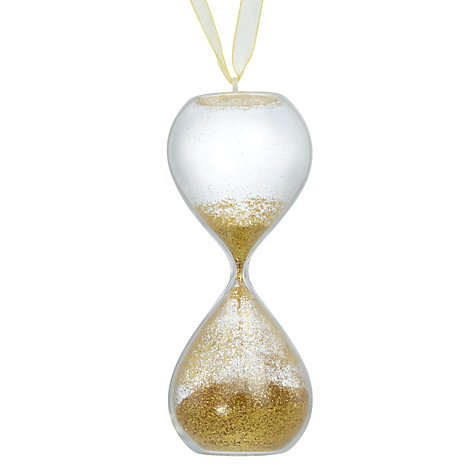 Buy John Lewis Enchantment Glitter Hourglass Bauble, Gold Online at johnlewis.com