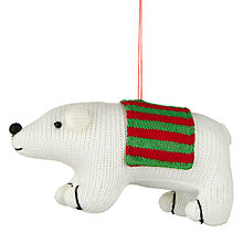 Buy John Lewis Cotton Soft Polar Bear Tree Decoration, White Online at johnlewis.com