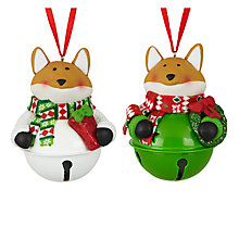Buy John Lewis Claydough Jingle Bell Fox Tree Decoration, Assorted Online at johnlewis.com