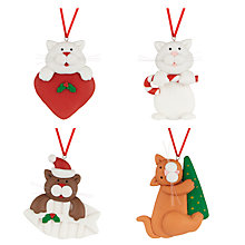 Buy John Lewis Claydough Cats Christmas Decorations, Pack of 4 Online at johnlewis.com