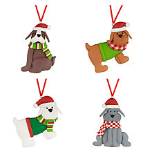 Buy John Lewis Claydough Dogs Christmas Decorations, Pack of 4 Online at johnlewis.com