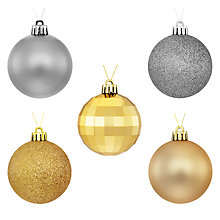 Buy John Lewis Boutique Shatterproof Baubles, Pack of 20, Gold and Silver Online at johnlewis.com
