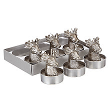 Buy John Lewis Enchantment Deerhead Tealights, Pack of 6, Pewter Online at johnlewis.com