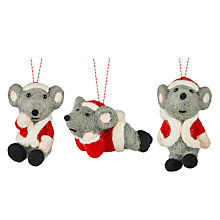 Buy John Lewis Felt Mice Tree Decoration, Assorted Online at johnlewis.com