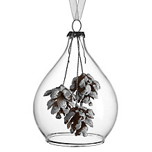 Buy John Lewis Snowdrift Glass Bell with Hanging Pinecones Bauble, Clear Online at johnlewis.com