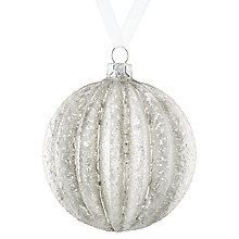 Buy John Lewis Snowdrift Glass Ribbed Bauble, Silver Online at johnlewis.com