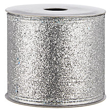 Buy John Lewis Glitter Wired Ribbon, 3m, Silver Online at johnlewis.com