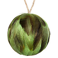 Buy John Lewis Midwinter Feather Bauble, Green Online at johnlewis.com