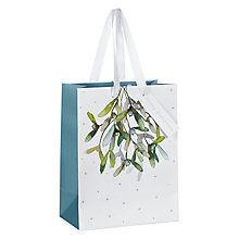 Buy John Lewis Snowdrift Mistletoe Gift Bag, Small Online at johnlewis.com