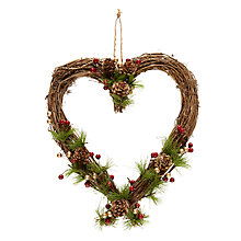 Buy John Lewis Midwinter Pine Cone Heart Wreath Online at johnlewis.com