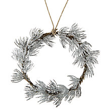 Buy John Lewis Snowdrift Hanging Cedar Wreath, Silver Online at johnlewis.com