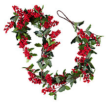 Buy John Lewis Midwinter Red Berry & Holly Garland Online at johnlewis.com