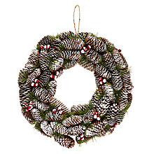 Buy John Lewis Snowdrift Frosted Berry & Pinecone Wreath Online at johnlewis.com