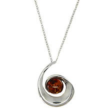 Buy Goldmajor Sterling Silver Amber Spiral Pendant Necklace, Amber Online at johnlewis.com