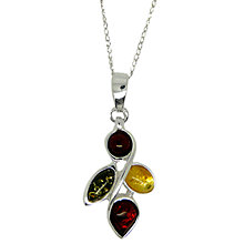 Buy Goldmajor Sterling Silver Multi Colour Amber Necklace, Amber Online at johnlewis.com
