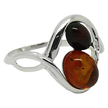 Buy Goldmajor Sterling Silver Two-Tone Amber Ring, Amber, N Online at johnlewis.com