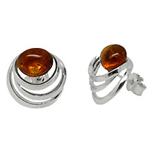 Buy Goldmajor Sterling Silver Amber Spiral Stud Earrings, Amber Online at johnlewis.com