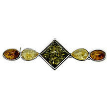 Buy Goldmajor Sterling Silver Multi Amber Bar Brooch, Amber Online at johnlewis.com