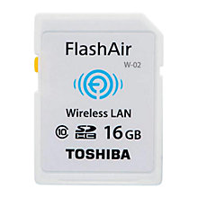 Buy Toshiba FlashAir W-03 Wireless Class 10 SDHC Memory Card, 16GB, 10MB/s Online at johnlewis.com
